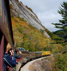 www.conwayscenic.com.  The Notch Train approaching Mt. Willard in Crawford Notch.  Thanks to Debbe Hill for this photo!