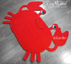 Crab Rug. Hand Crocheted. by CozyHat on Etsy