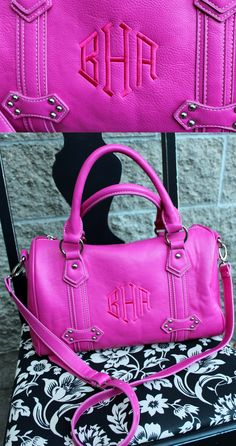 Signature Barrel Purse with FREE personalization from Initials Inc. in Berry.