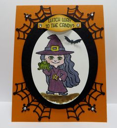 Stampin' Up water colored Witch card created by Lynn Gauthier using Stampin' Up Haunt Ya Later and Witches' Night stamp sets and the new black spider web doilies. Go to http://lynnslocker.blogspot.com/2015/09/lost-witch-haunt-ya-later.html to see the details of this card.