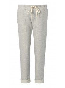 $59.98 Tribeca Pant: French terry drawstring pant with Pork Chop front pockets. Available in heather grey and navy stripe French terry. Heather grey is 90% cotton, 10% poly. Navy stripe French terry is 100% cotton.