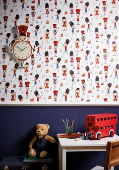 This playful Drummer Boy Soldier Wallpaper by Arthouse is British nostalgia at its best! The traditional motif illustrative design shows little drummer boys, in a watercolour effect set upon a white background. Denim Wallpaper, Drums Wallpaper, Boys Wallpaper, Colorful Wallpaper, Modern Wallpaper Designs, Designer Wallpaper, Drums Cartoon, High Design, Wallpaper Please