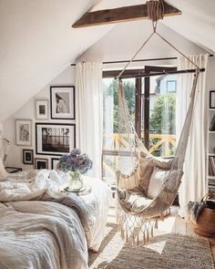 reading, a quiet night of stargazing or a in your garden, patio or hear the waves on the beach or enjoy the beautiful view in the forest with a lovely hammock chair. ☀️Lounge & Relax☀️ * * Enjoy a Cute Room Decor, Room Decor Bedroom, Bedroom Bed, Bedroom Ideas, Bohemian Bedroom Decor, Hammock In Bedroom, Indoor Hammock Chair, Bedroom Swing Chair, Outdoor Hanging Chair