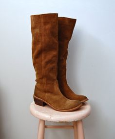 7.5, not sure if they would fit, but a good find. Vintage Suede Boots - Knee High Tall Boots - The Emerson. $48.00, via Etsy.