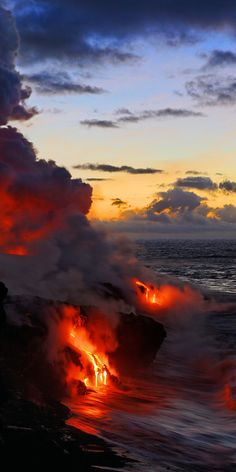 Lava flowing into the Pacific. Kalapana, Hawaii.