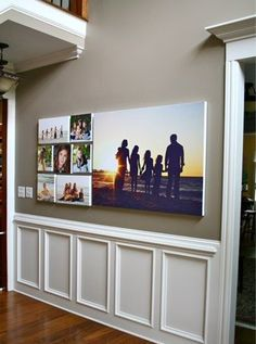 One large canvas photo pairs well with several small canvas pieces to tell a story! Family Photo Canvas Wall 4 Wall Display Ideas for Your Photos // Wall Art Wednesday Design Blog, Home Design, Art Mural Photo, Photo Deco, Decoration Design, Home And Deco, Photo Canvas, Photo Displays, Wall Canvas