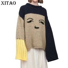 [XITAO] Europe 2017 New Autumn Casual Women Flare Sleeve Patchwork Loose Sweaters Female Full Sleeve O-Neck Knitted Tops XWW783 #XITAO #sweaters #women_clothing #stylish_sweater #style #fashion