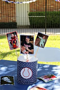 @ stacy betty coffee can...with baseballs inside and noahs pictures glued to sticks!!! sooooo cool!!! Baseball Party