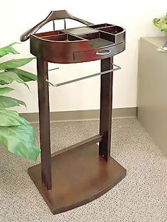 Menu0027s Valet Stand In Dark Walnut, Jewelry Drawer, Electronics Charger