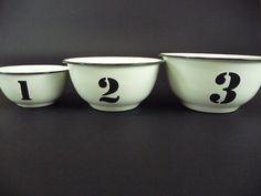 Enamel Ware Bowls (set of 3) - SOLD - #rustic #interior #homewares #interiorstyle #furniture #homedecor #enamel #enamelware #kitchen #kitchenware #old #vintage #antique #bowls