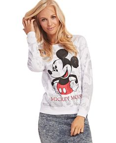"<p>Rock this reversible long sleeve tee your way! One side features a screen print of Mickey™ with the words ""Mickey Mouse™"" below, and the other side features an allover black and white print of the lovable mouse with red pops of color. Other features include a soft knit body and ribbed trim at the scoop neckline, hem, and wrists. The allover print can be seen through the shirt when worn on the inside, creating a super cute, yet subtle Mickey™ print on the ..."