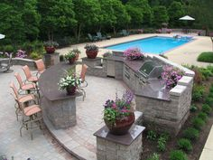 Outdoor Kichen, Bar, and Pool made by Wentworth Nursery, Inc.