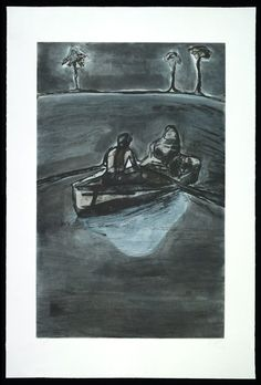 Peter Doig, to be titled, 2016, Two Palms, etching with gravure, spit bite, 94.6 x 63.5 cm, Edition of 30