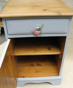 A pair of Solid Pine Bedside cabinets with drawers & crystal
