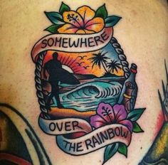 Relax With These 18 Tropical Paradise Tattoos! - - Old School Tattoo - Photo Dad Tattoos, Music Tattoos, Forearm Tattoos, Sleeve Tattoos, Tattoos For Guys, Hawaii Tattoos, Tattoos For Women Small, Small Tattoos, Trendy Tattoos