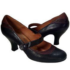 Sofft Mary Jane Pumps 10M Black Leather Brown Trim Heels Button Detail #Sofft #PumpsClassics