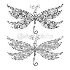 Vector conjunto de libélula abstracta sobre fondo blanco