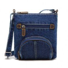 Unisex Women Blue Denim Shoulder Bag Jean Purse Vintage Cross Bag Handbag