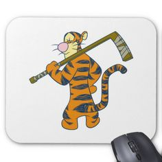 Winnie The Pooh Tigger playing ice hockey standing Mouse Pad