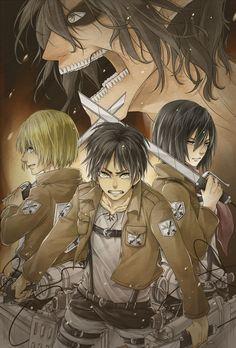 Armin Arlert, Eren Jaeger and Mikasa Ackerman: Shingeki no Kyojin