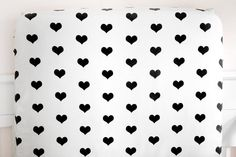 Little Woolf™ Fitted Crib Sheet in White+Black Heart // Additional Col – Woolf With Me