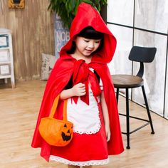 2016 Cute Little Red Riding Hood Costume Girl Kid's Halloween Cosplay Clothing Children's Princess Performance Dress For Kids