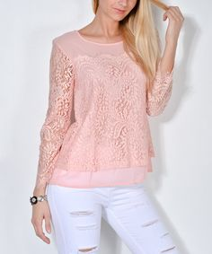 LAKLOOK Pink Lace Scoop Neck Top | zulily
