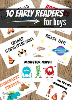 10 early reader books about things boys love most: monsters, dinosaurs, race cars and more. Perfect for guided reading groups in preschool or kindergarten! Guided Reading Groups, Reading Centers, Reading Activities, Literacy Activities, Teaching Reading, Reading Lessons, Abc Learning, Learning Support, Reading Games