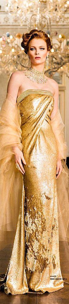 John Paul Ataker Gold Evening Gown ♔ Très Haute Diva