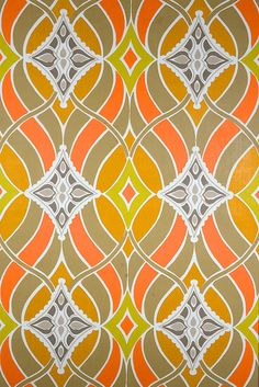 Funky Vintage Geometric Wallpaper.