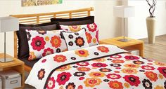 $140 Custom Queen Size Coral Fire Red Pumpkin Orange Brown Daisy Appliqued Bedding Set  with Brown Sheet and 4 pillows , 6 pcs