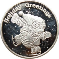 Great Deals On 2002 Holiday Greetings Ice Skating Bear 1 oz Silver Art Round 999 Pure At Gainesville Coins. Securely Buy Gold And Silver Online. Buy Gold And Silver, Silver Rounds, 1 Oz, Ice Skating, Holiday Gifts, Skate, Bear, Pure Products, Bears