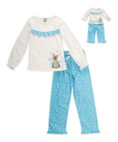 Love this Ivory & Turquoise Dog Pajama Set & Doll Outfit - Girls by Dollie & Me on #zulily! #zulilyfinds