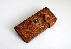 Handtooled woman's leather wallet, Hand-carved woman's wallet, Handmade leather purse, Tooled wallet, Wallet, Handtooled leather wallet by leathercraftbg on Etsy