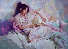 Menina lendo Victoria Chaus (Ucrânia,1964) óleo sobre tela