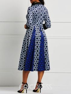 Ericdress Long Sleeve Pullover A-Line Polka Dots Color Block Dresses African Fashion Skirts, African Dresses For Women, African Print Dresses, African Print Fashion, African Attire, African Tops, African Prints, African Style, African Women