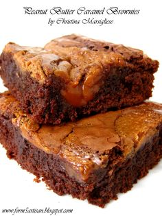 peanut butter caramel brownies; amazing bittersweet chocolate brownies are rich, moist, fudgey, gooey, dense, chocolatey, absolutely delicious; peanut butter caramel is slightly sticky and chewy; its texture is reminiscent of soft fudge
