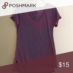 Rock & Republic V Neck T shirt V Neck short sleeved shirt with cuffed sleeves. Thin soft fabric. Semi sheer. Color is a unique purple with teal accents. Slits on side with slightly longer back. Rock & Republic Tops Tees - Short Sleeve