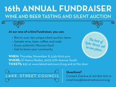 Fun Fundraising Event - Very low key community event with beer and wine tasting as the focus, then raising lots of money with a huge amount of silent auction items.