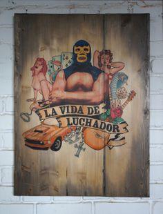 """La vida de luchador"" 80x60 cm, hand made transfer on aged wooden panel"