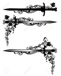 Sword Among Rose Flowers With Bird - Black And White Vector Design.. Royalty Free Cliparts, Vectors, And Stock Illustration. Image 51494290.