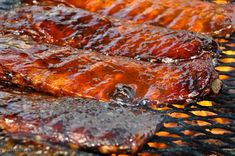 Tasty BBQ ribs cooking on a grill at the Blues, Brews & BBQ Festival in Destin Ribs On Grill, Bbq Ribs, Pork Ribs, Barbecue Sauce, Pork Chops, Barbecue Recipes, Grilling Recipes, Cooking Recipes, Gastronomia
