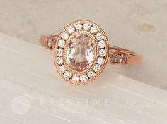 Peach Sapphire Rose Gold Vintage Style Engagement Ring in Diamond Halo Wedding Ring