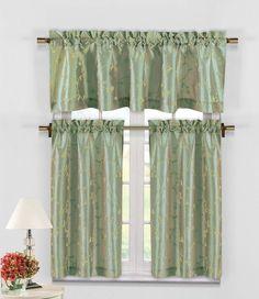 Sage Green 3 Pc Kitchen Window Curtain Set: Botanical Design, 1 Valance, 2