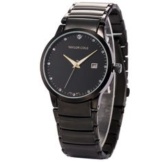 7343731b0c2 Taylor Cole Lady Relogio Round Black Crystal Full Stainless Steel Strap  Female Clock Casual Wrist Women
