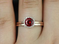 Bella Petite Size 14kt Rose Gold Ruby and Diamond Cushion Halo Plain Band Wedding Set Option 1 (Other metals and stone options available)