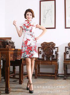 10b65bdfd7de4 2016 New Robe De Soiree Courte Qipao The Summer To Improve Fashion Dress  Short Cotton Jacquard