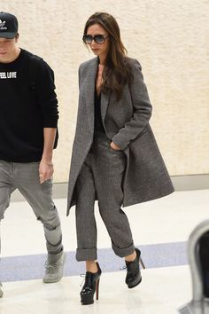 Victoria Beckham Makes Over a Classic Menswear-Inspired Look | Love her classic yet edgy style!