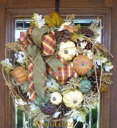 Fall PUMPKIN Wreath with a PLAID BOW by decoglitz on Etsy