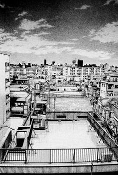 Building Sketch, Building Art, City Drawing, Background Drawing, Perspective Drawing, Urban Sketching, Manga Illustration, Environmental Art, Urban Landscape